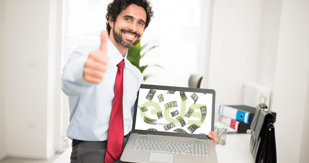website displaying money bills